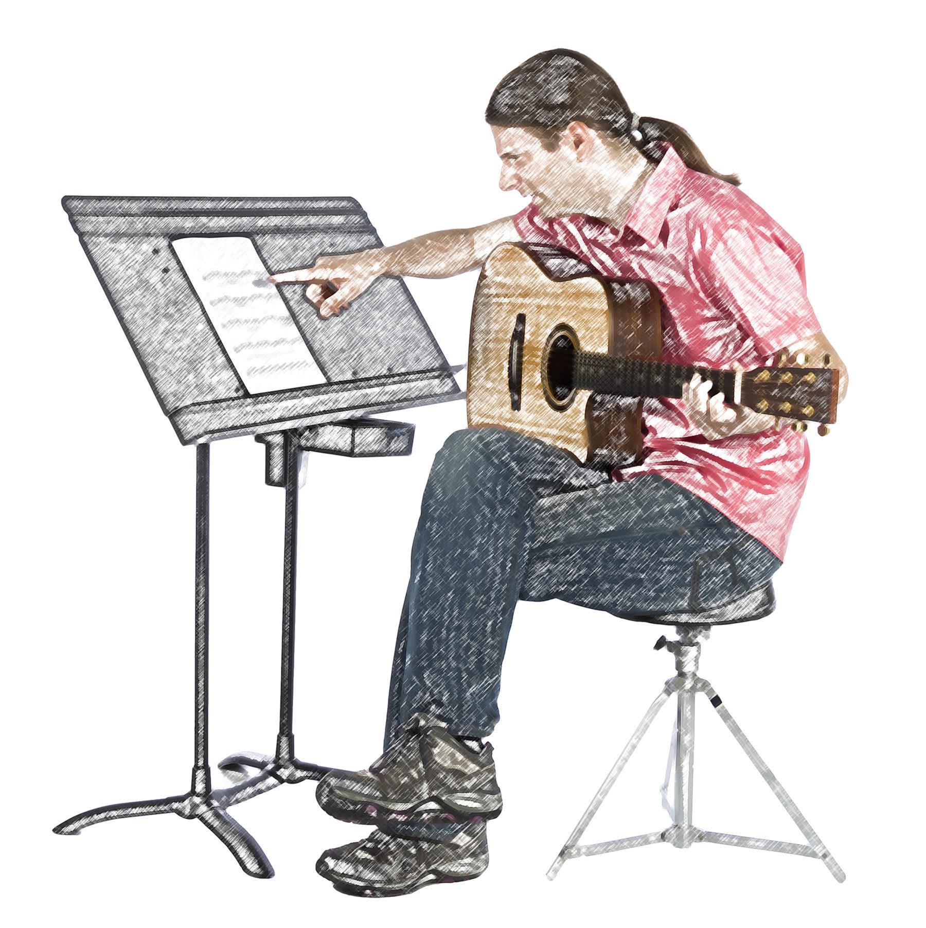 Verwirrter Gitarrist
